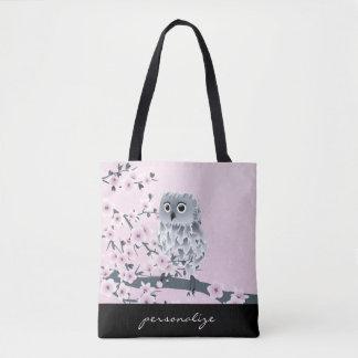 Tote Bag Enfants roses de hibou et de fleurs de cerisier