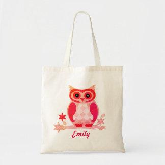Tote Bag Enfants roses personnalisés de hibou