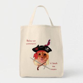 Tote Bag Épicerie Fourre-tout de chat de pirate