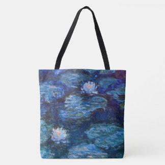 Tote Bag Étang de nénuphar dans le bleu par des beaux-arts