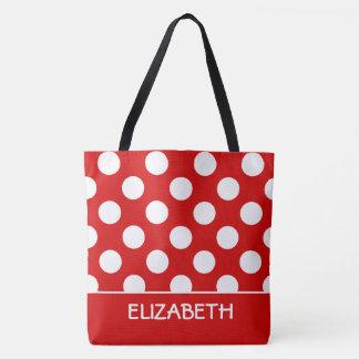 Tote Bag Été rouge et point de polka blanc personnalisé