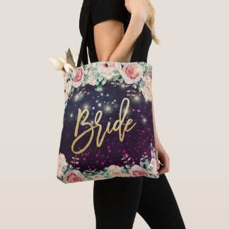 Tote Bag Étincelle pourpre florale chic de Bourgogne de