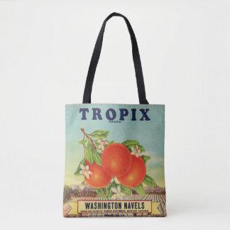Tote Bag Étiquette orange de caisse de marque de Tropix