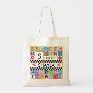 Tote Bag Étoile de rose d'école d'art d'alphabet d'enfants