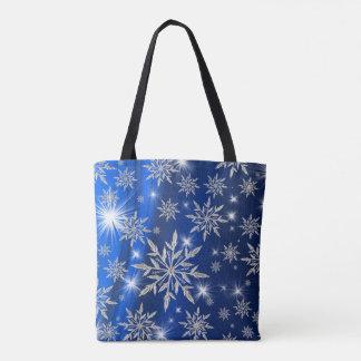 Tote Bag Étoiles bleues de Noël avec le cristal de glace