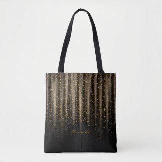 Tote Bag Étoiles d'or de lumière et conception noire avec
