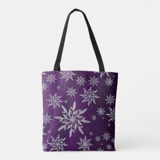 Tote Bag Étoiles pourpres de Noël avec le cristal de glace