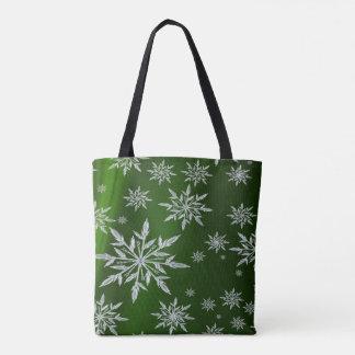 Tote Bag Étoiles vertes de Noël avec le cristal de glace