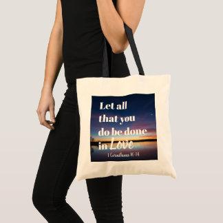Tote Bag Faites tout les choses dans l'amour fourre-tout