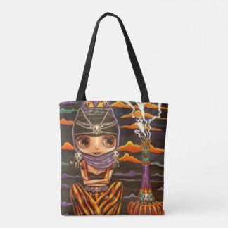 Tote Bag Fantômes gothiques Halloween de Kitty de fille de