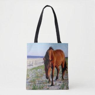 Tote Bag Faune fourre-tout, chevaux sauvages, île