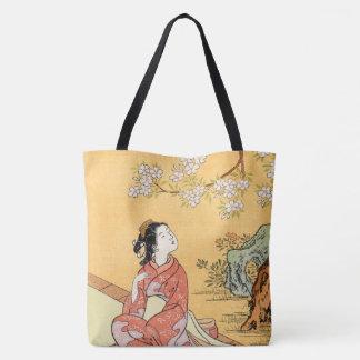 Tote Bag Femme s'asseyant sous des fleurs de cerisier