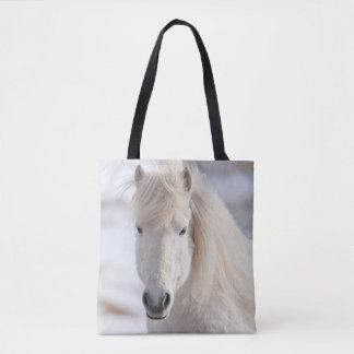 Tote Bag Fermez-vous d'un cheval islandais blanc