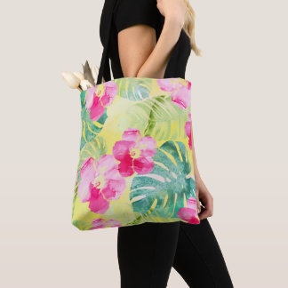 Tote Bag Feuille de banane et fleurs tropicaux de ketmie