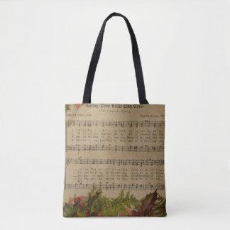 Tote Bag Feuille de musique vintage de chant de Noël