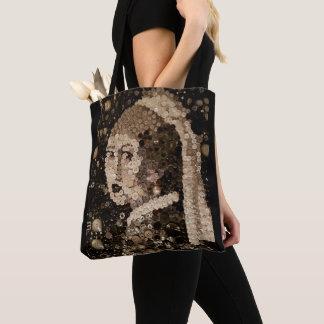 Tote Bag Fille avec une boucle d'oreille de perle, mosaïque