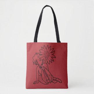 Tote Bag Fille de Gerbera (noir sur le rouge) Fourre-tout