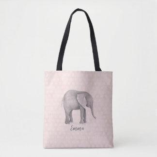 Tote Bag Fille d'éléphant avec l'arrière - plan géométrique