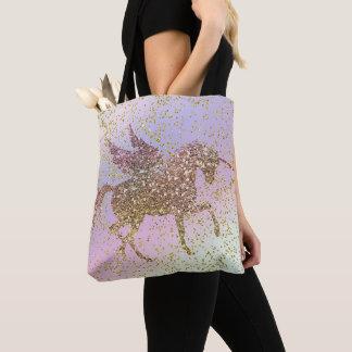 Tote Bag Filles à la mode d'or d'arc-en-ciel de licorne en