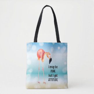 Tote Bag Flamant rose femelle avec l'attitude