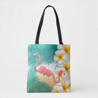 Tote Bag Flamants sur une conception tropicale turquoise de