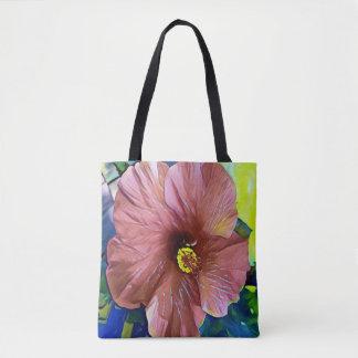 Tote Bag Fleur artistique de ketmie de beau rose