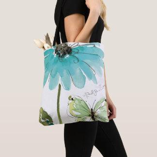 Tote Bag Fleur et papillon bleus