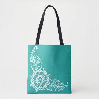 Tote Bag Fleur Fourre-tout de mandala dans Teal léger