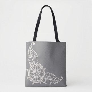 Tote Bag Fleur Fourre-tout de mandala en gris et crème
