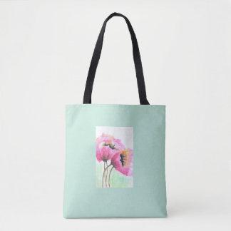 Tote Bag Fleur rose peinte à la main