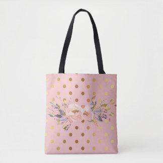Tote Bag Fleurs adorables de pois d'or de Faux