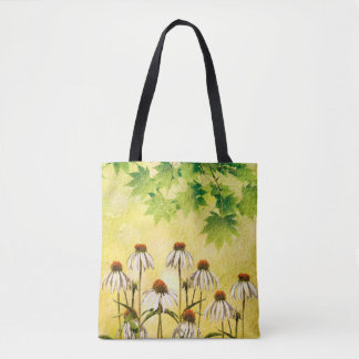 Tote Bag Fleurs blanches lumineuses et gaies d'echinacée