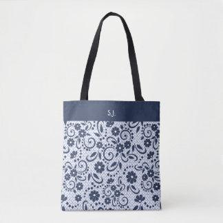 Tote Bag Fleurs bleues lunatiques de monogramme