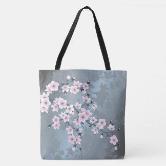 Tote Bag Fleurs de cerisier bleues grisâtres roses sombres