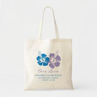 Tote Bag Fleurs de ketmie de bleu royal et de lavande |
