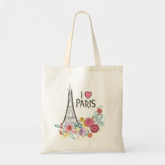Tote Bag Fleurs de Tour Eiffel et d'été