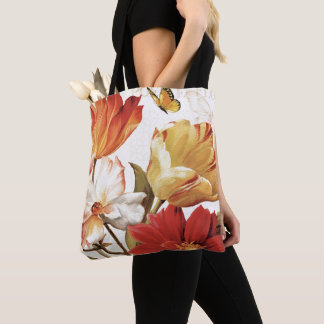 Tote Bag Fleurs et papillons