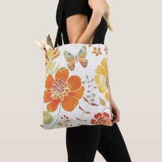 Tote Bag Fleurs et papillons colorés