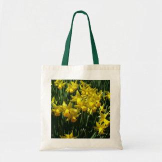 Tote Bag Fleurs gaies de ressort des jonquilles I jaune