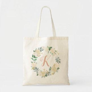 Tote Bag Fleurs neutres d'aquarelle du monogramme | de