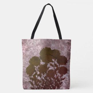 Tote Bag Fleurs romantiques pourpres de maman en silhouette