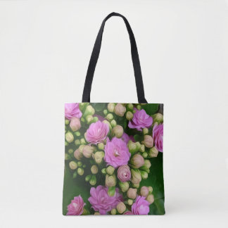Tote Bag Fleurs roses avec les bourgeons jaunes sur