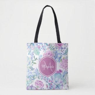 Tote Bag Floral succulent pourpre et bleu élégant avec le