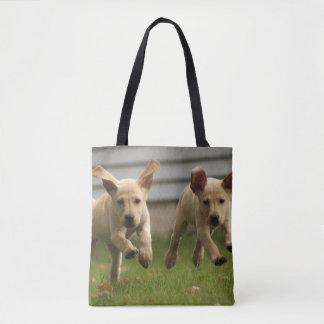 Tote Bag Fonctionnement jaune de chiots de Labrador
