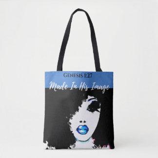 Tote Bag Fourre-tout bleu, blanc et noir de 1h27 de genèse