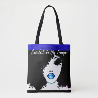 Tote Bag Fourre-tout de bleu de 1h27 de genèse, blanc et