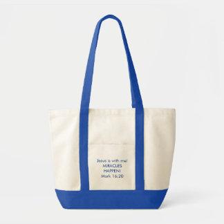 Tote Bag Fourre-tout - Jésus est avec moi - bleu royal