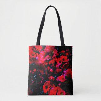 Tote Bag FOURRE-TOUT noir :  fleurs rouges avant/dos énorme