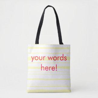 Tote Bag fourre-tout rayé jaune customizeable avec des mots