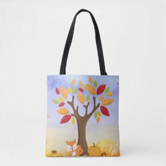 Tote Bag Fox d'automne avec le citrouille